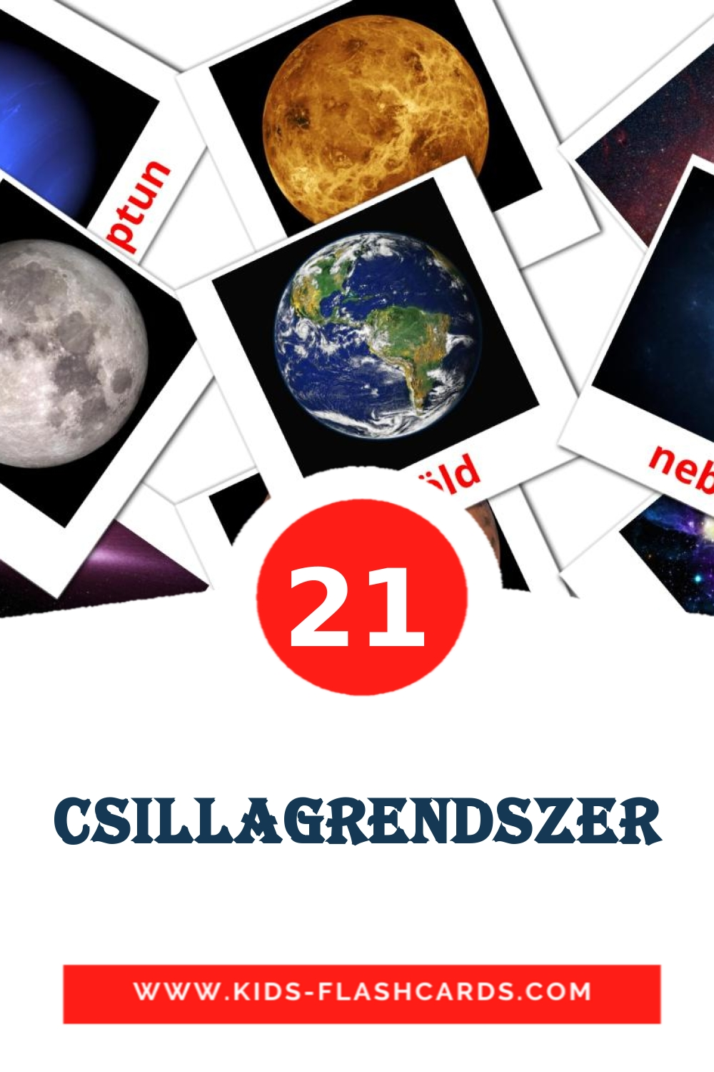 20 Csillagrendszer Picture Cards for Kindergarden in hungarian