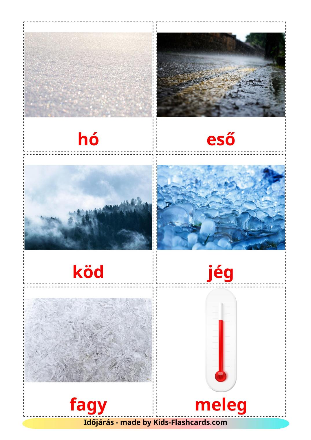 Weather - 31 Free Printable hungarian Flashcards