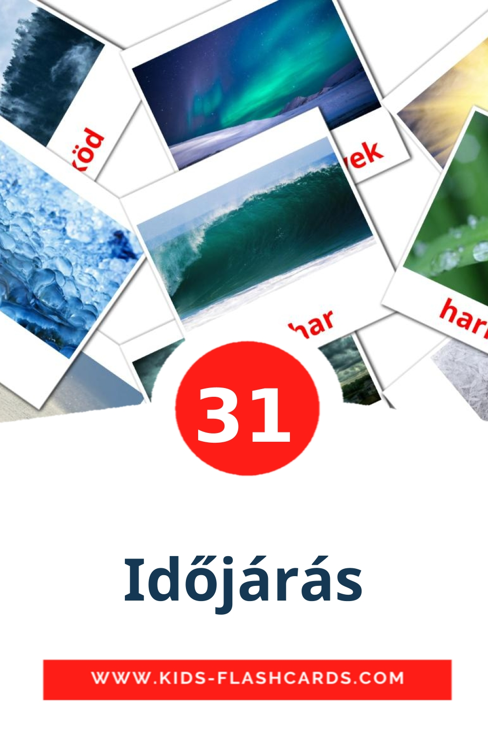 31 Időjárás Picture Cards for Kindergarden in hungarian