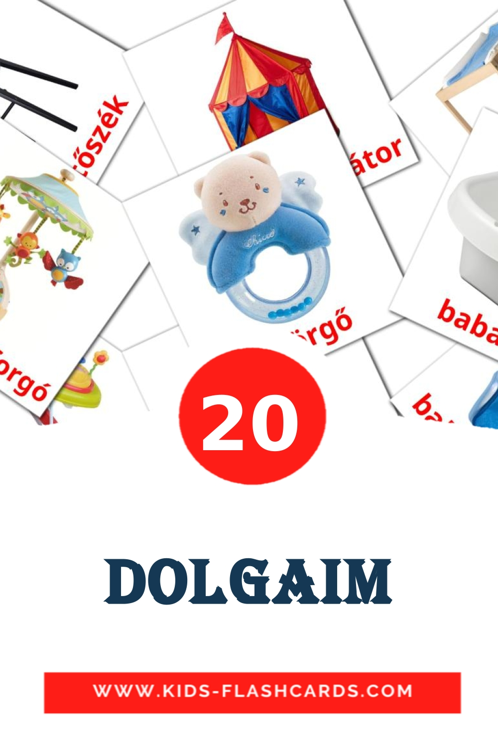 20 Dolgaim Picture Cards for Kindergarden in hungarian