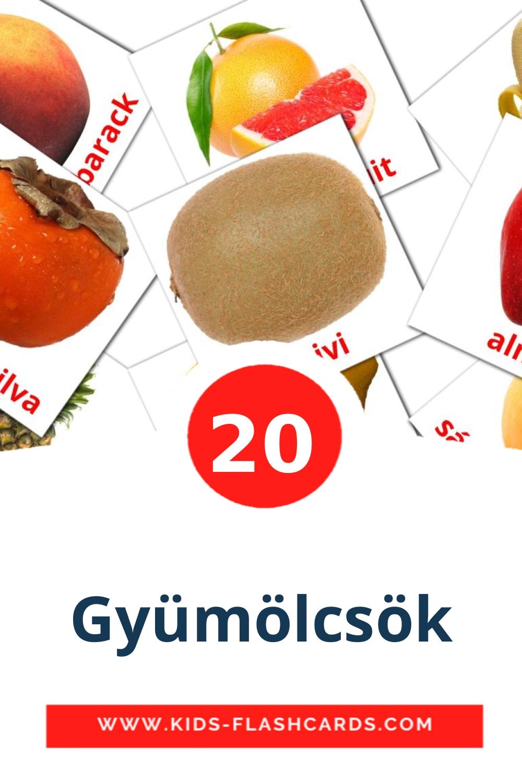 Gyümölcsök на венгерском для Детского Сада (20 карточек)