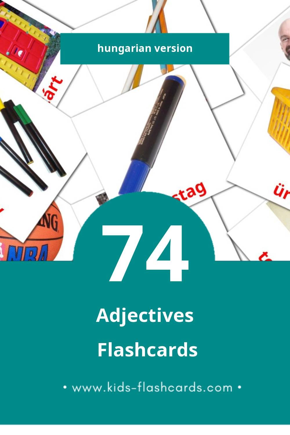 Visual Melléknevek Flashcards for Toddlers (74 cards in Hungarian)