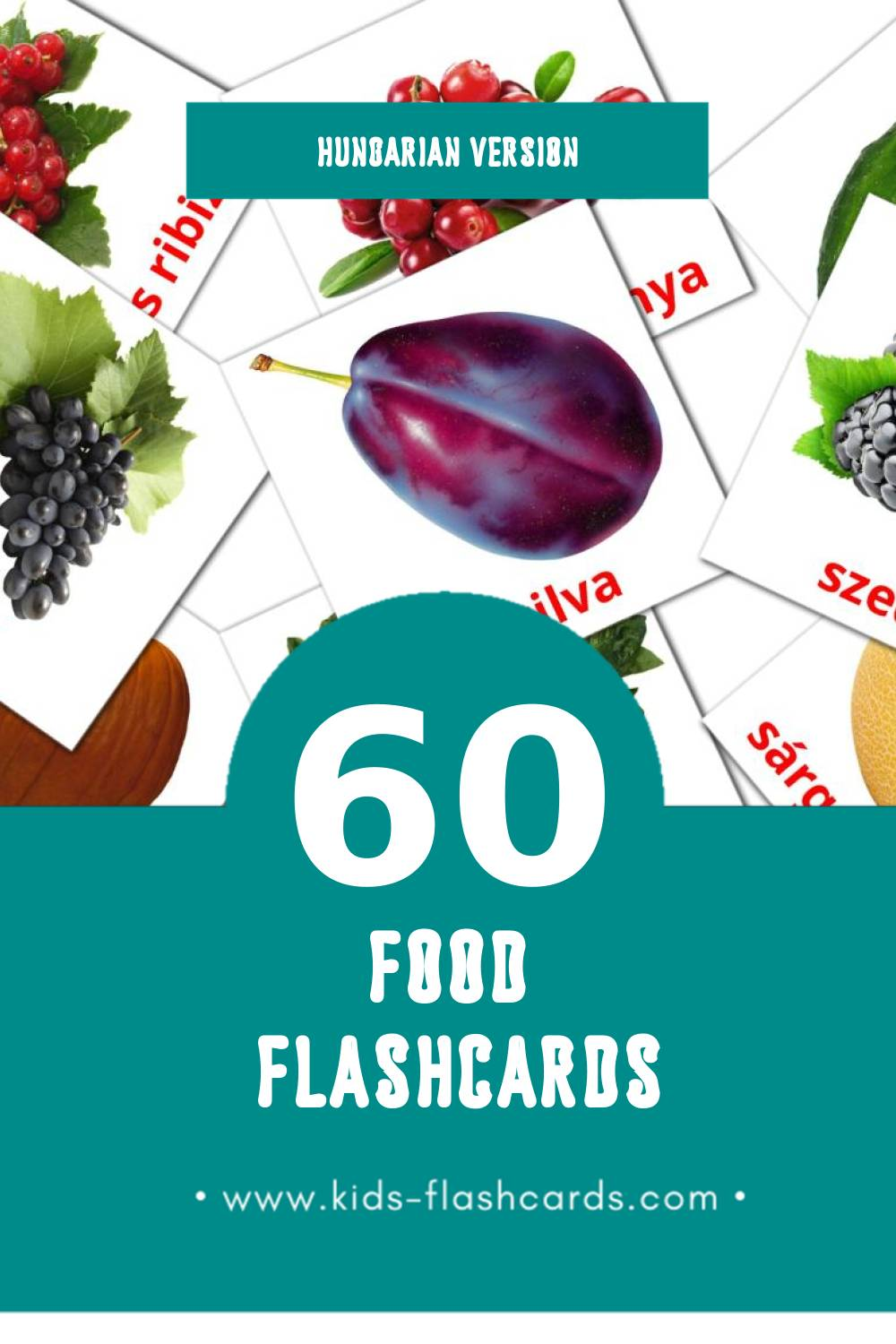 Visual Élelmiszer Flashcards for Toddlers (60 cards in Hungarian)