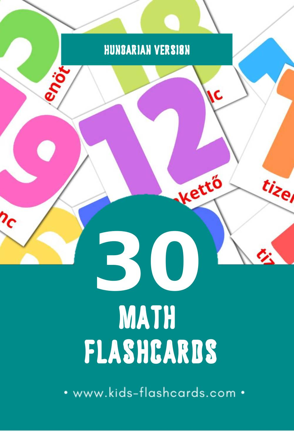 Visual Matematika Flashcards for Toddlers (30 cards in Hungarian)