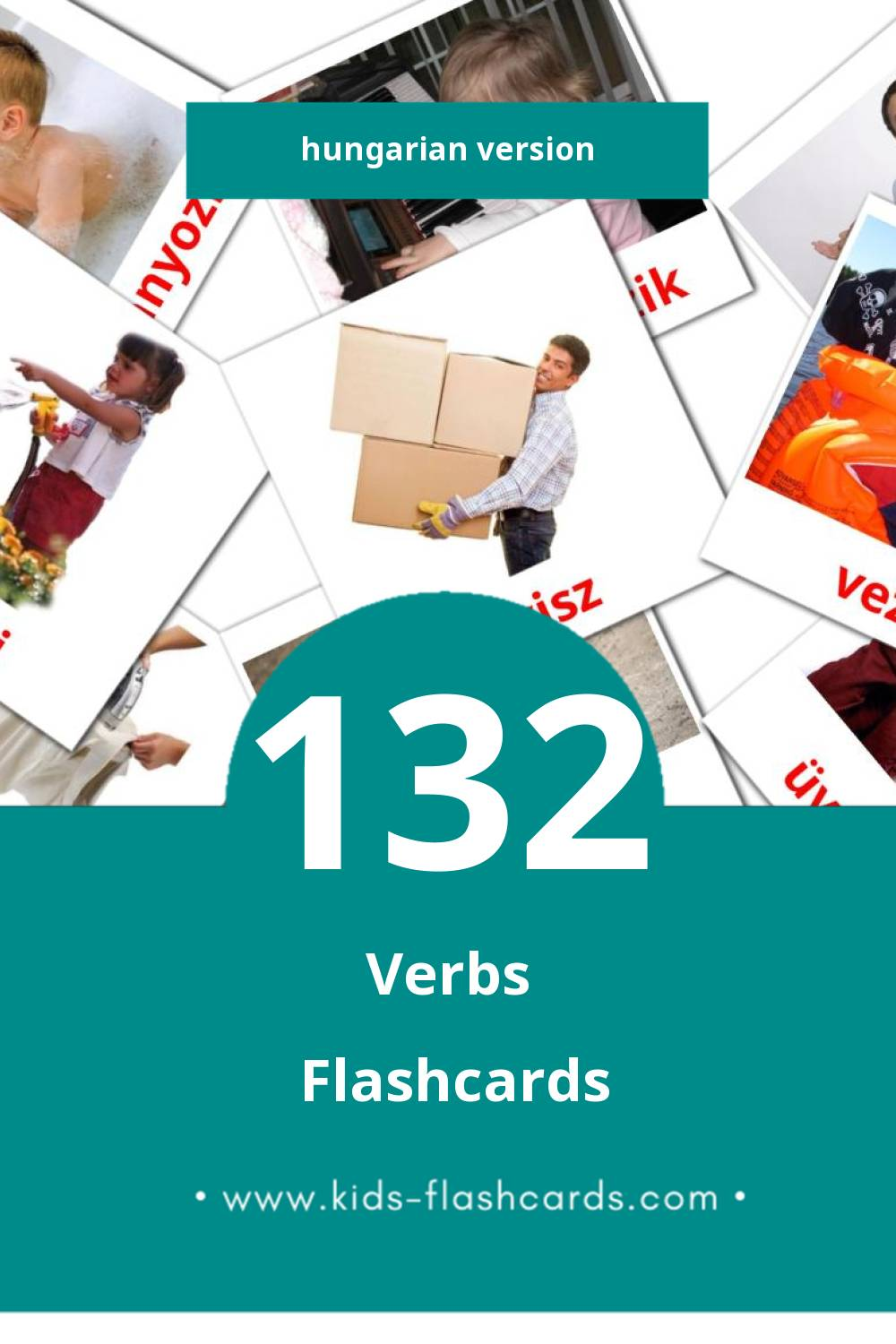 Visual Igék Flashcards for Toddlers (133 cards in Hungarian)