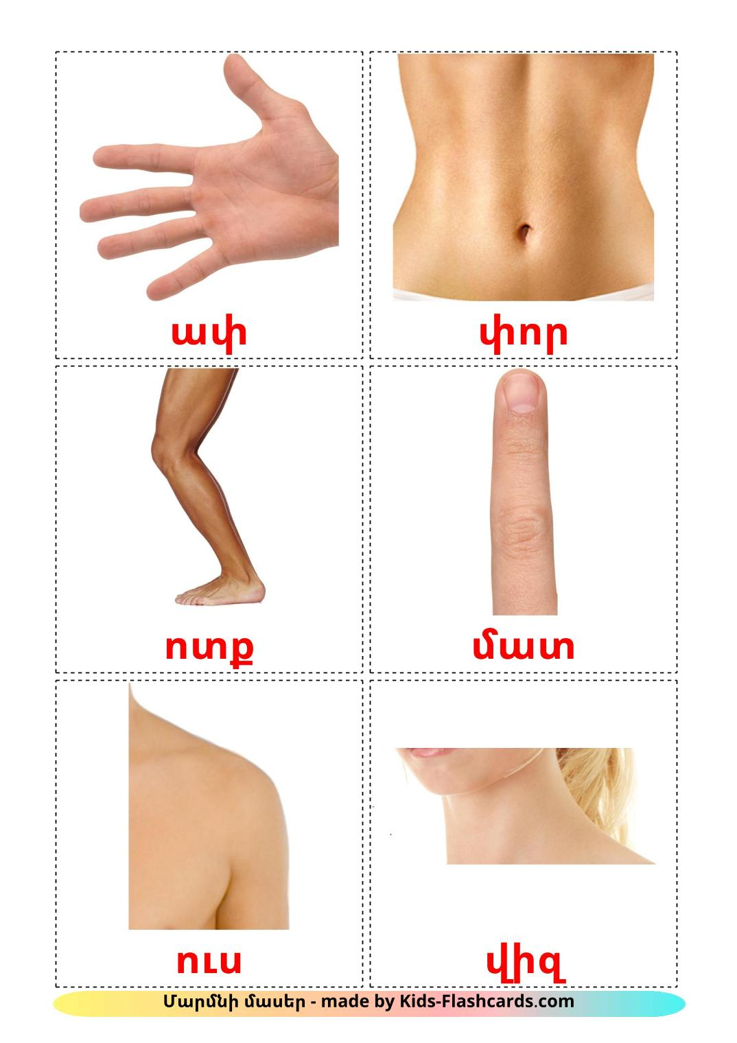 Body Parts - 26 Free Printable armenian Flashcards