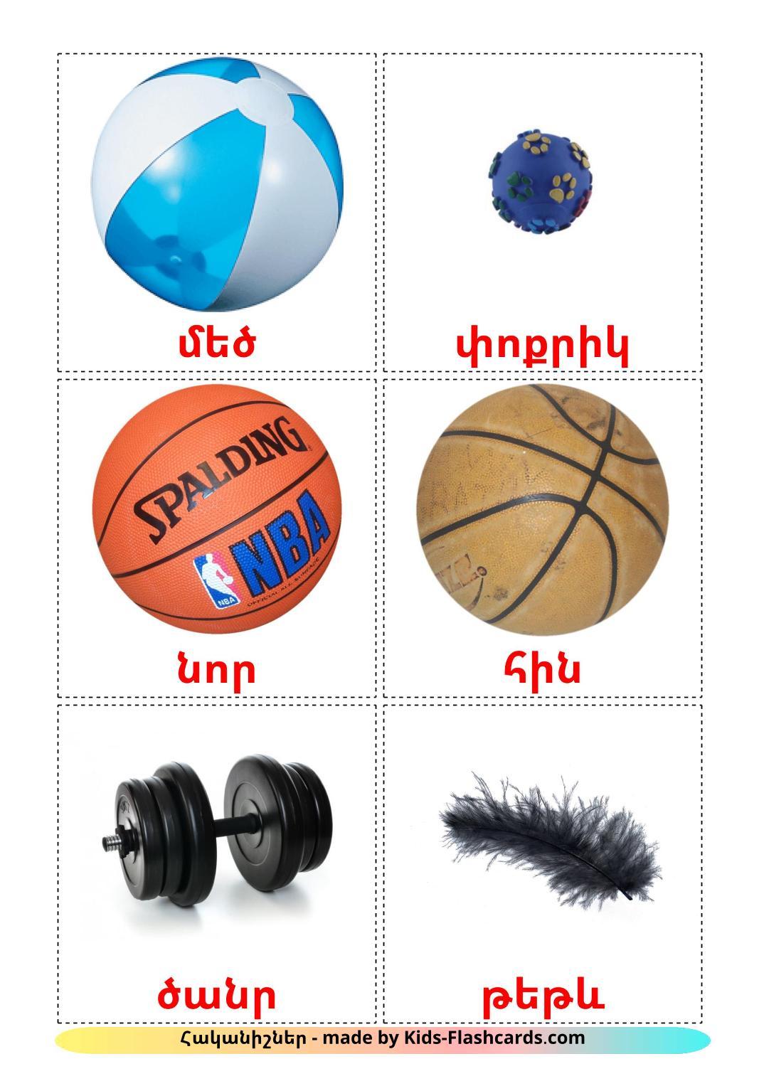 Opposites - 74 Free Printable armenian Flashcards