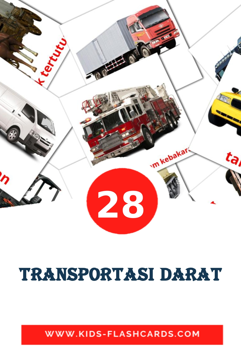 28 Transportasi darat Picture Cards for Kindergarden in indonesian