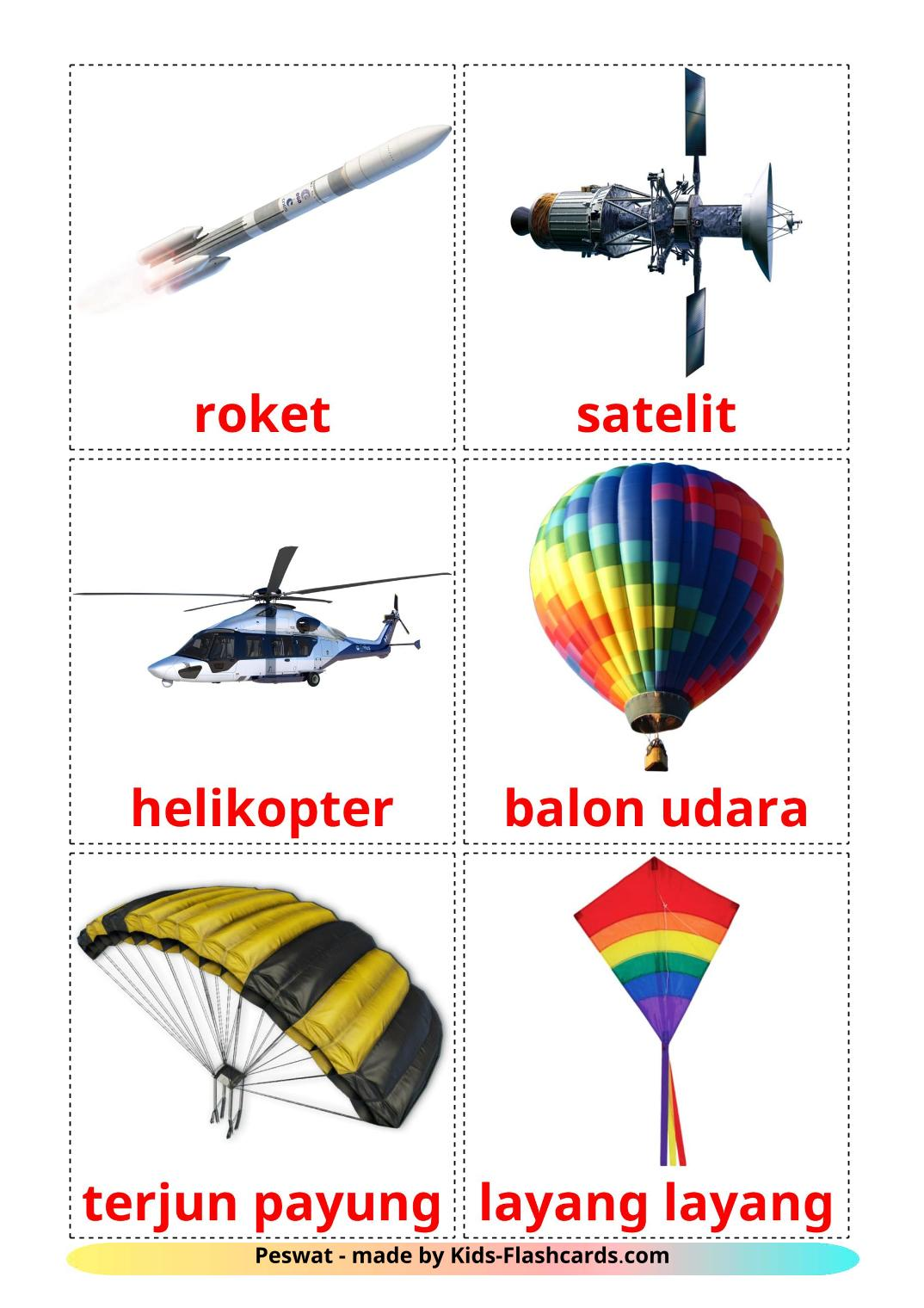 Aircraft - 14 Free Printable indonesian Flashcards