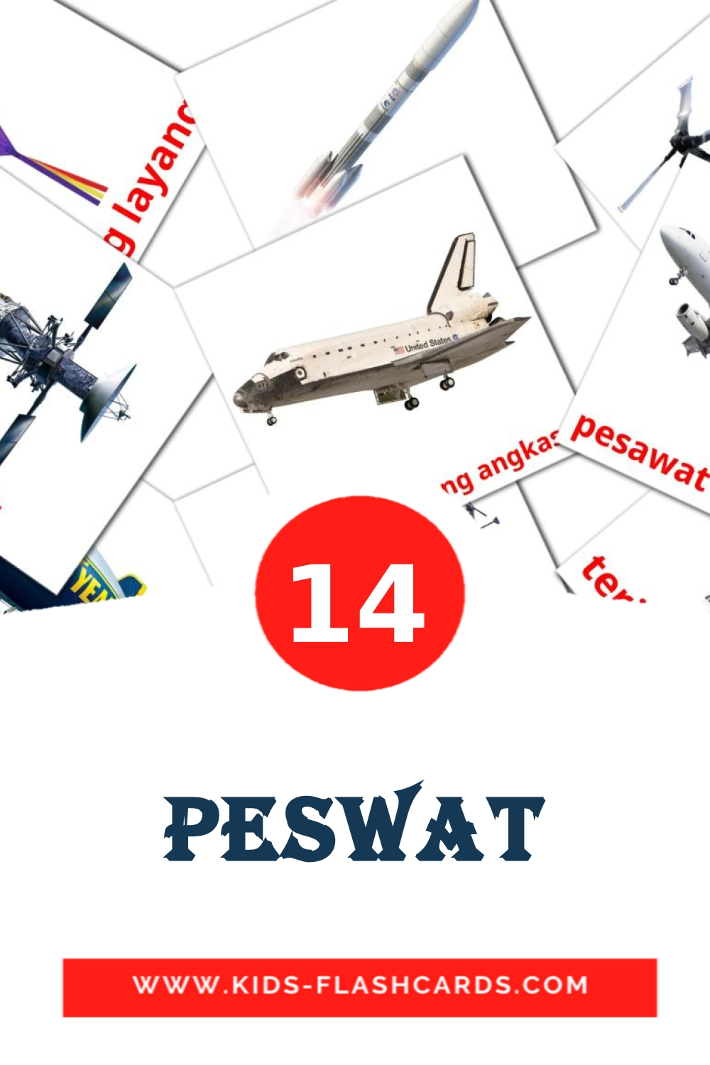 14 Peswat Picture Cards for Kindergarden in indonesian