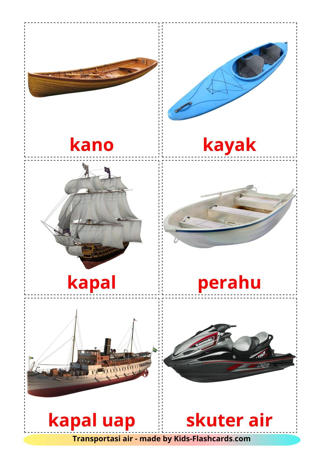 Water transport - 18 Free Printable indonesian Flashcards