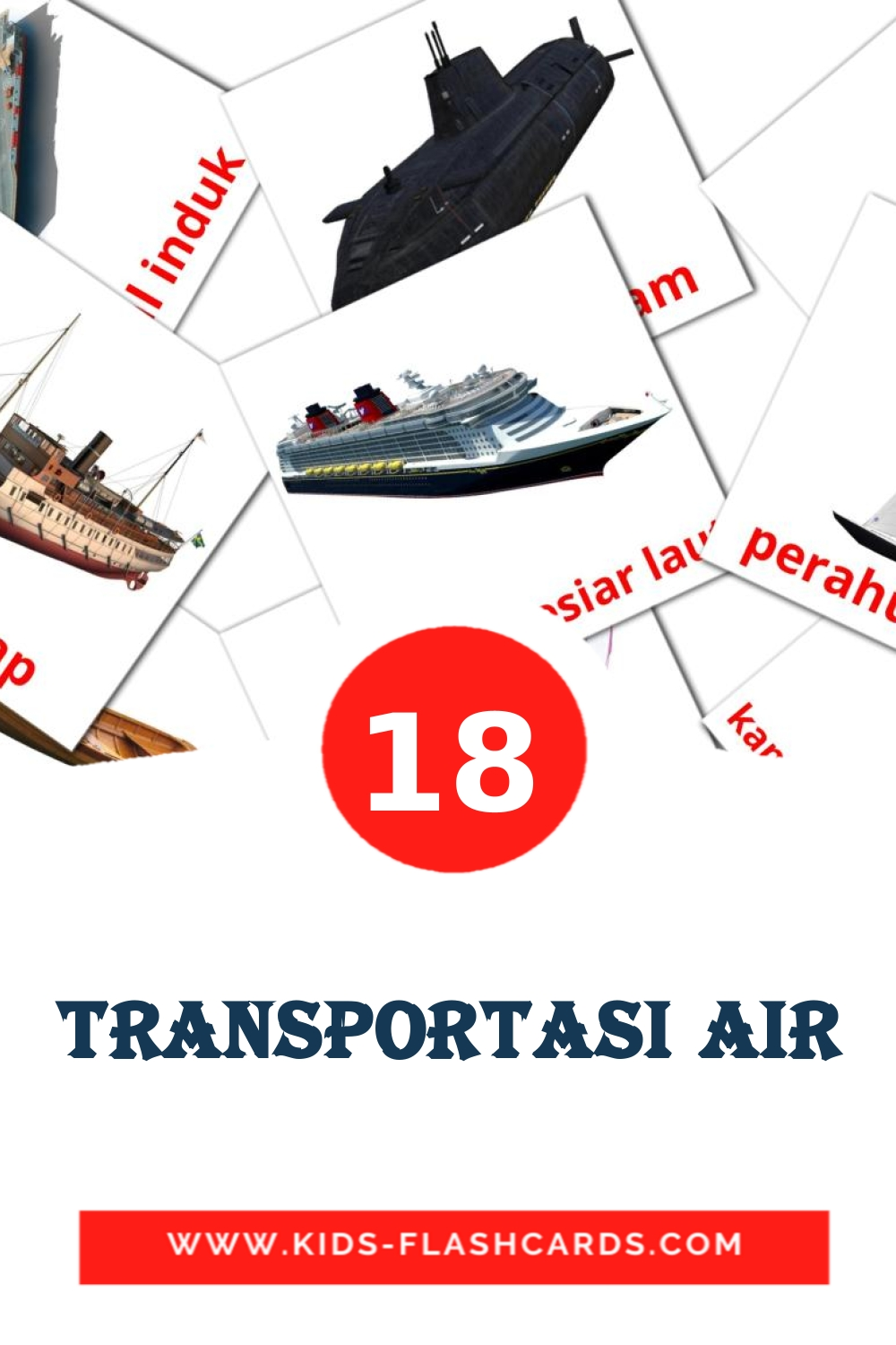 18 Transportasi air Picture Cards for Kindergarden in indonesian
