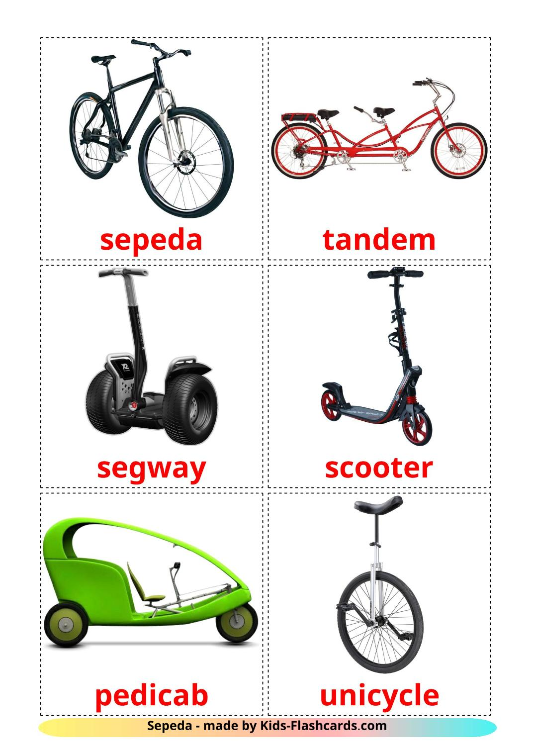 Bicycle transport - 16 Free Printable indonesian Flashcards