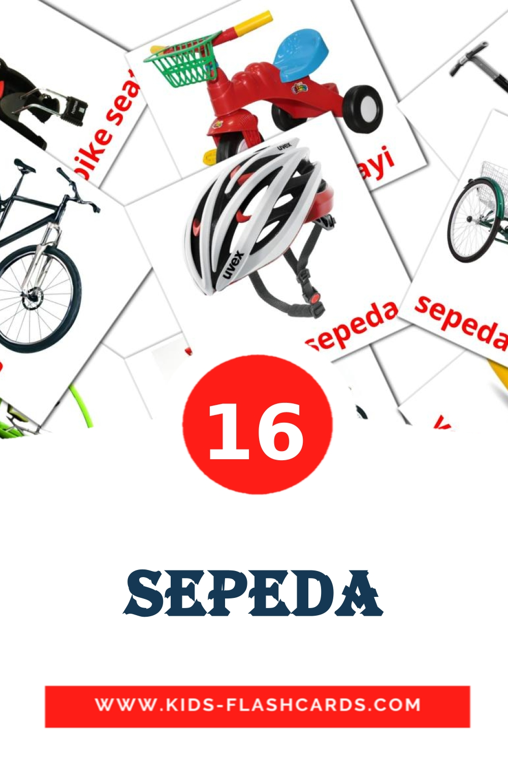 16 Sepeda Picture Cards for Kindergarden in indonesian