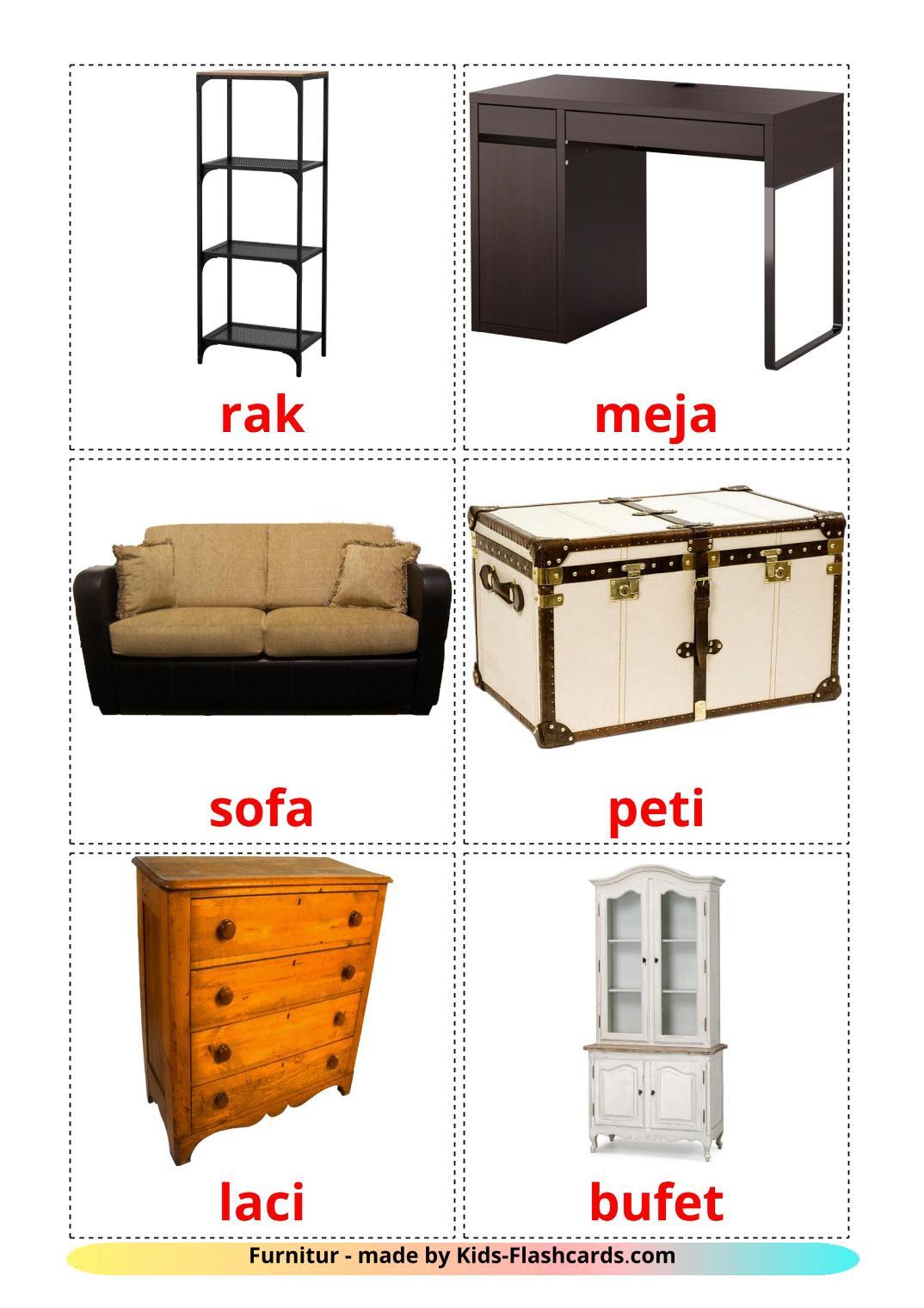 Furniture - 31 Free Printable indonesian Flashcards