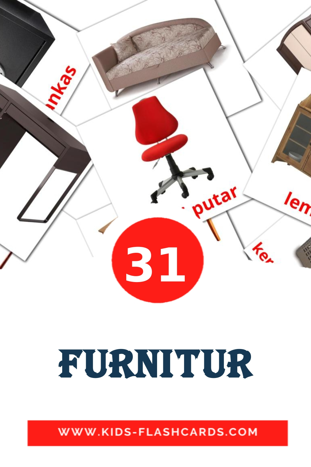 31 Furnitur Picture Cards for Kindergarden in indonesian