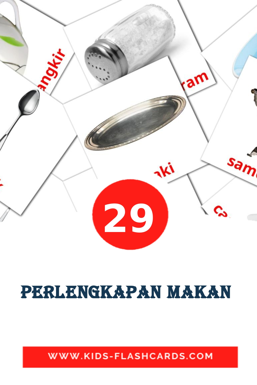 29 Perlengkapan makan  Picture Cards for Kindergarden in indonesian