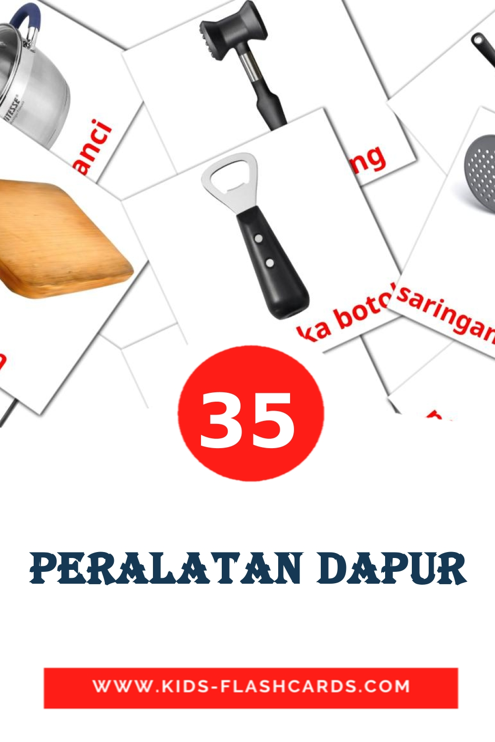 35 Peralatan Dapur Picture Cards for Kindergarden in indonesian