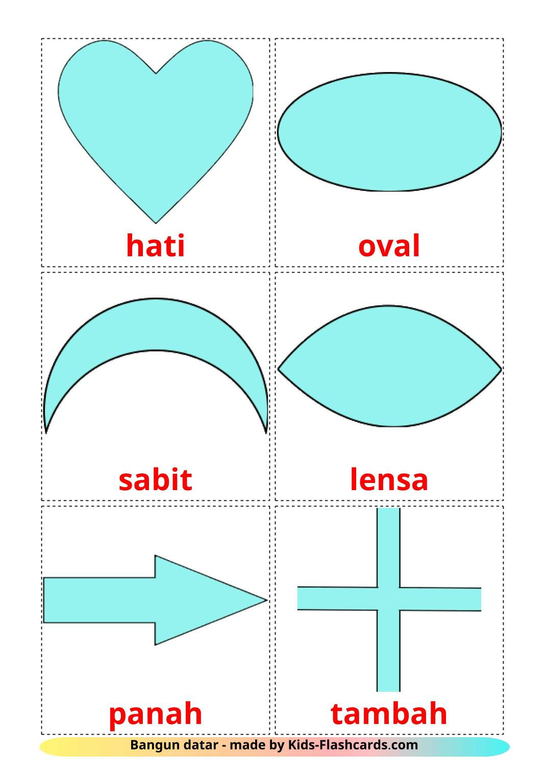 2D Shapes - 35 Free Printable indonesian Flashcards