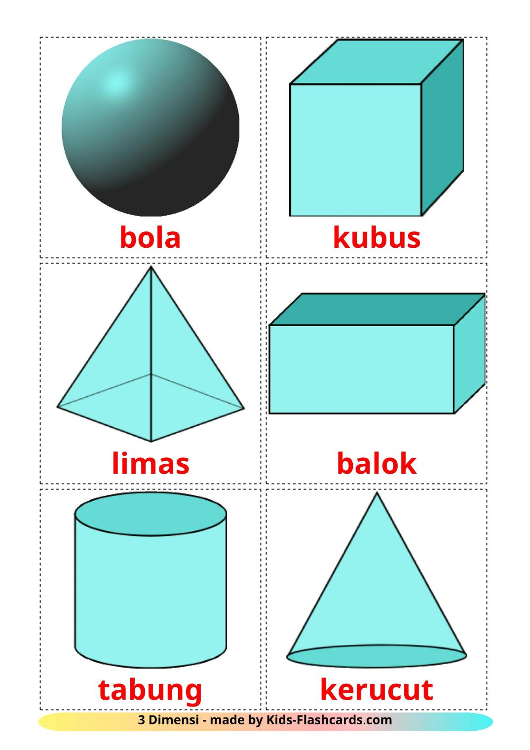 3D Shapes - 17 Free Printable indonesian Flashcards