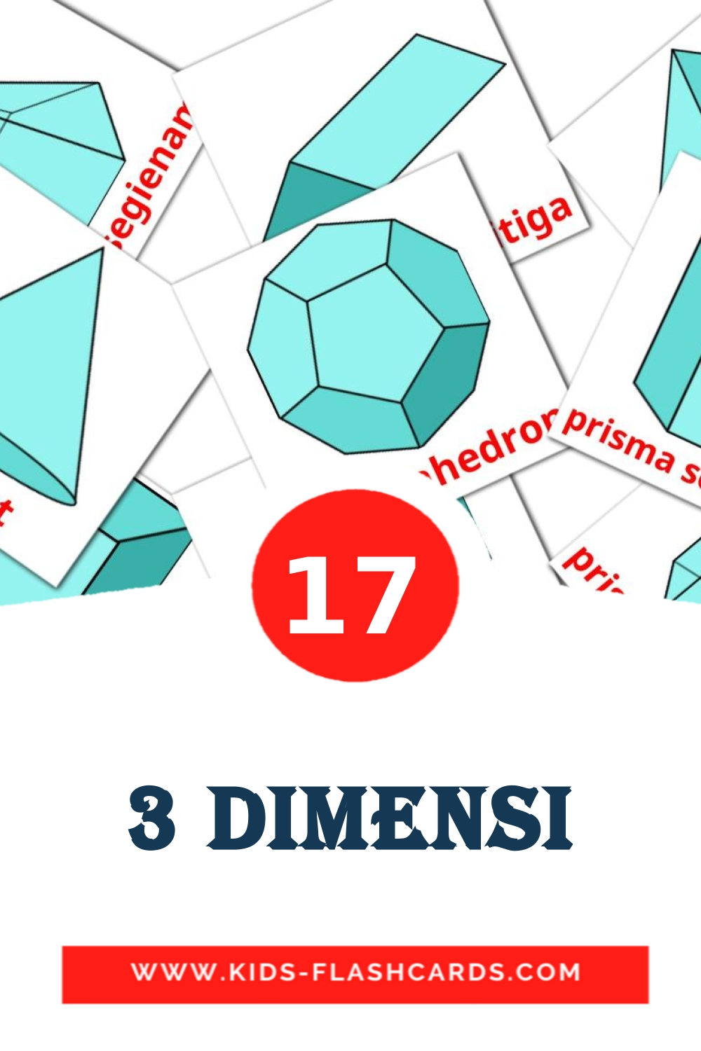 17 3 Dimensi Picture Cards for Kindergarden in indonesian
