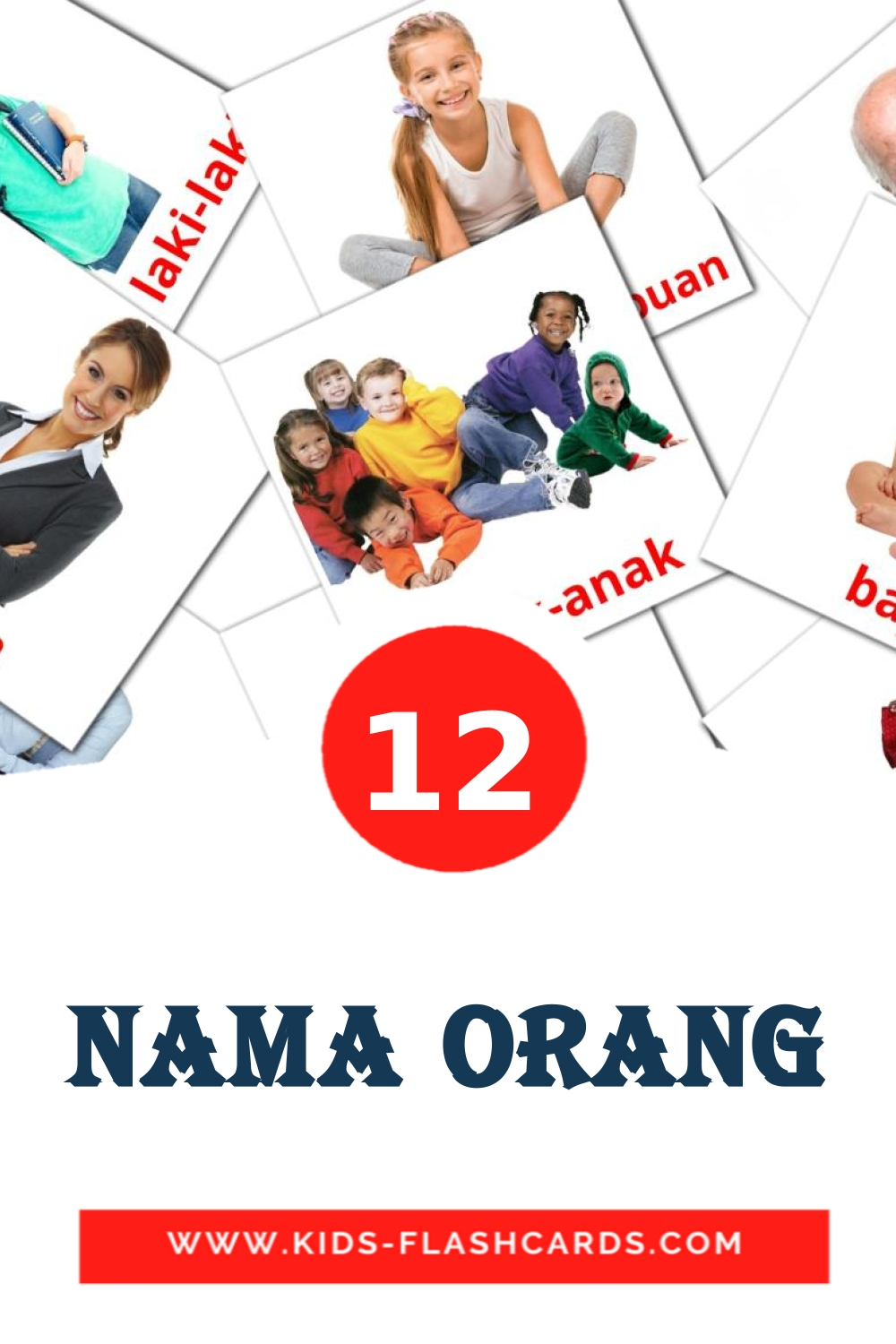 12 Nama Orang Picture Cards for Kindergarden in indonesian