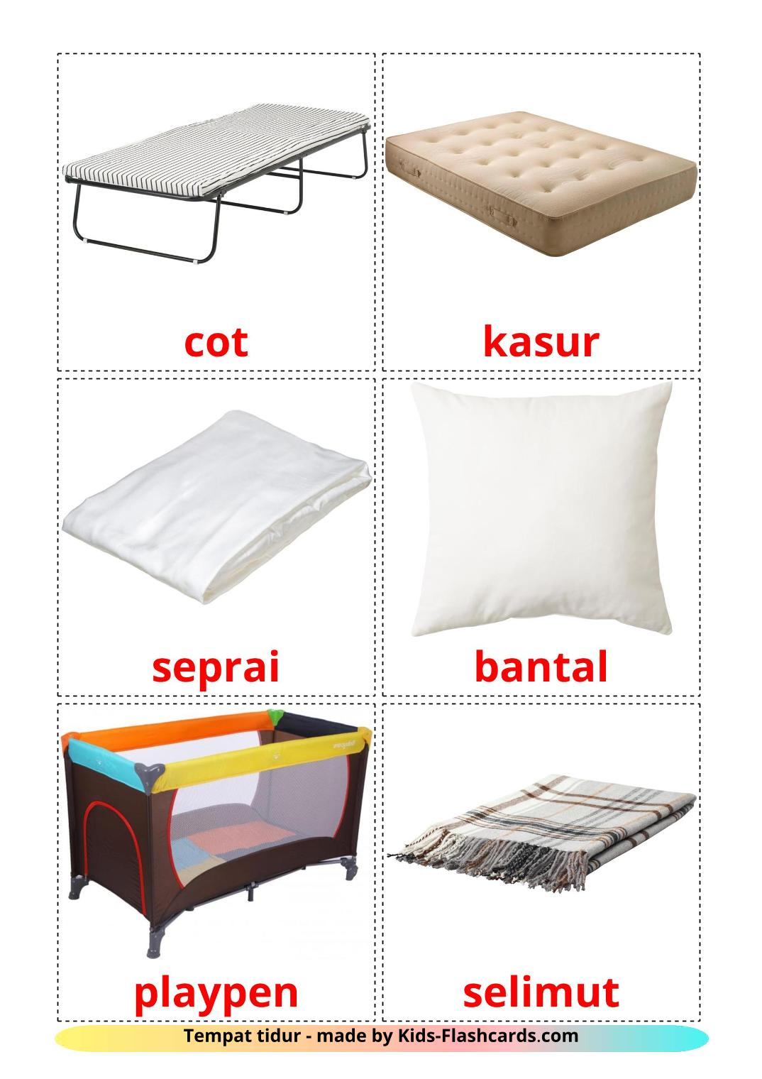 Bed - 15 Free Printable indonesian Flashcards