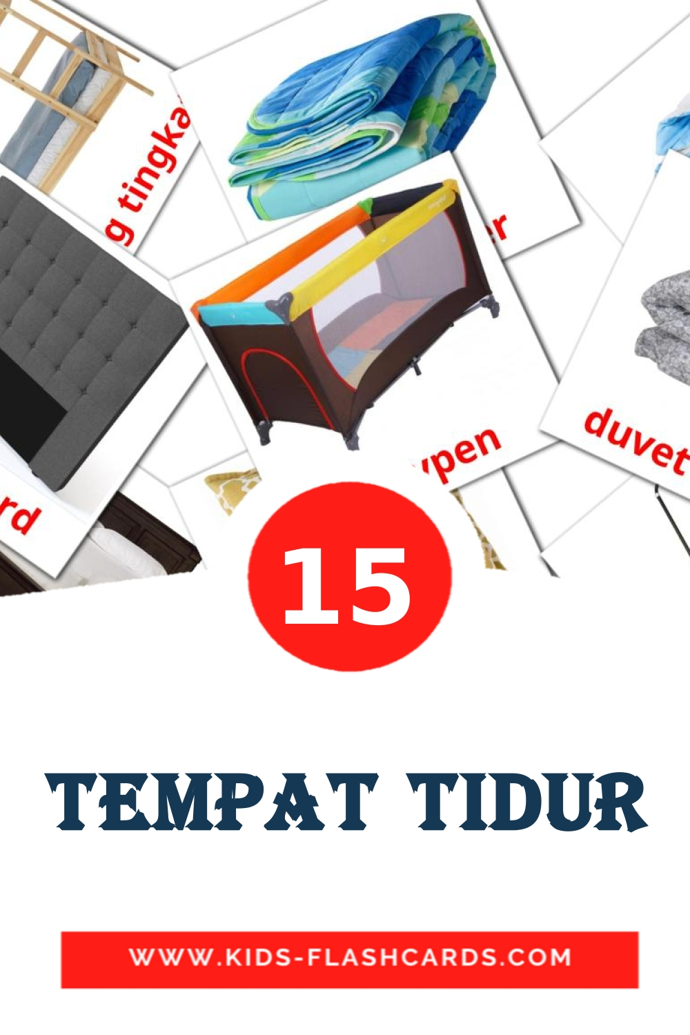 15 Tempat tidur Picture Cards for Kindergarden in indonesian