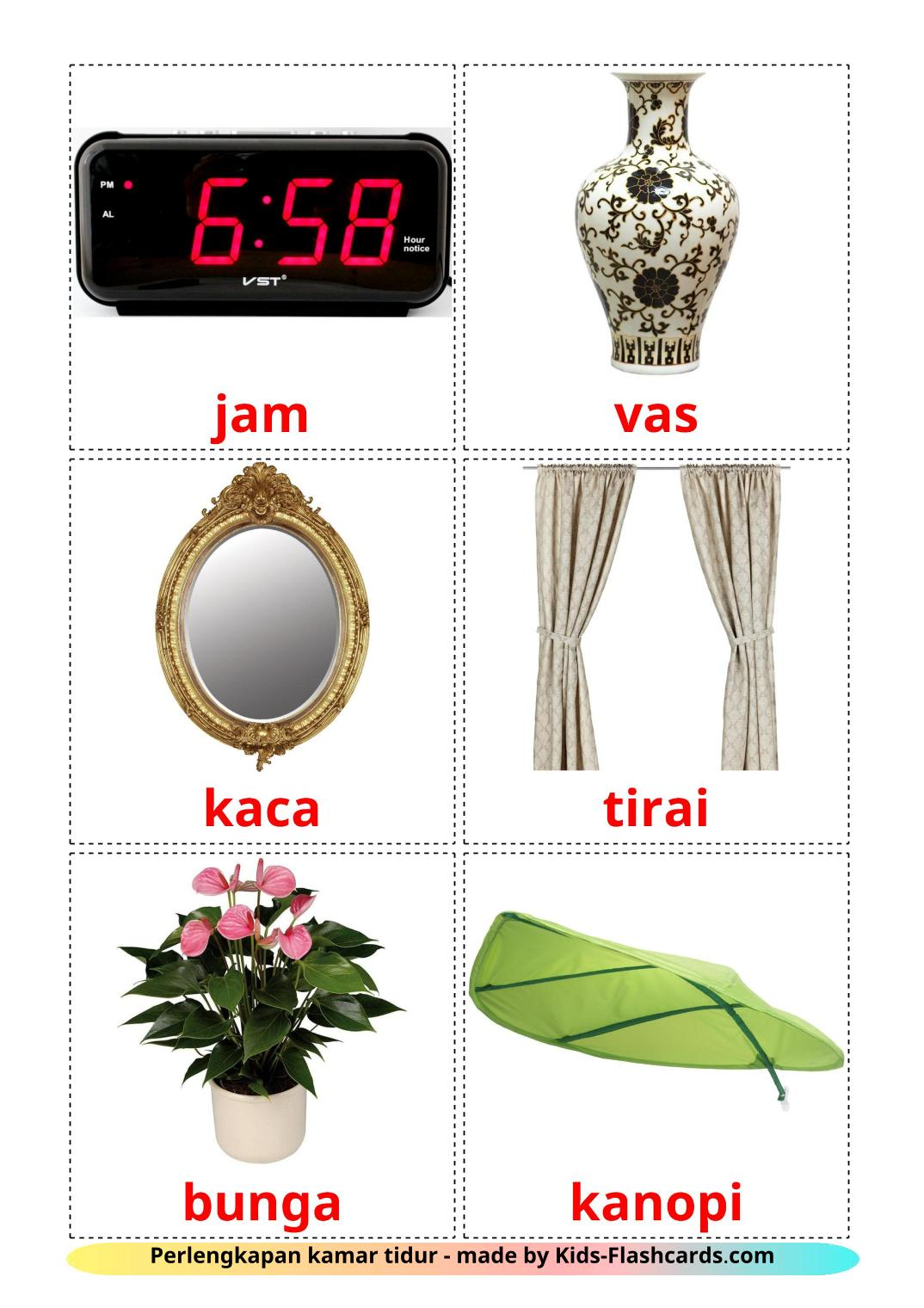 Bedroom accessories - 18 Free Printable indonesian Flashcards