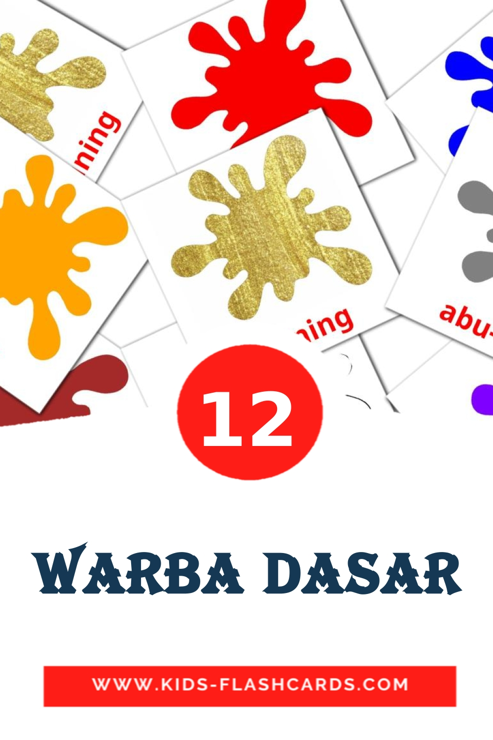 12 Warba dasar Picture Cards for Kindergarden in indonesian