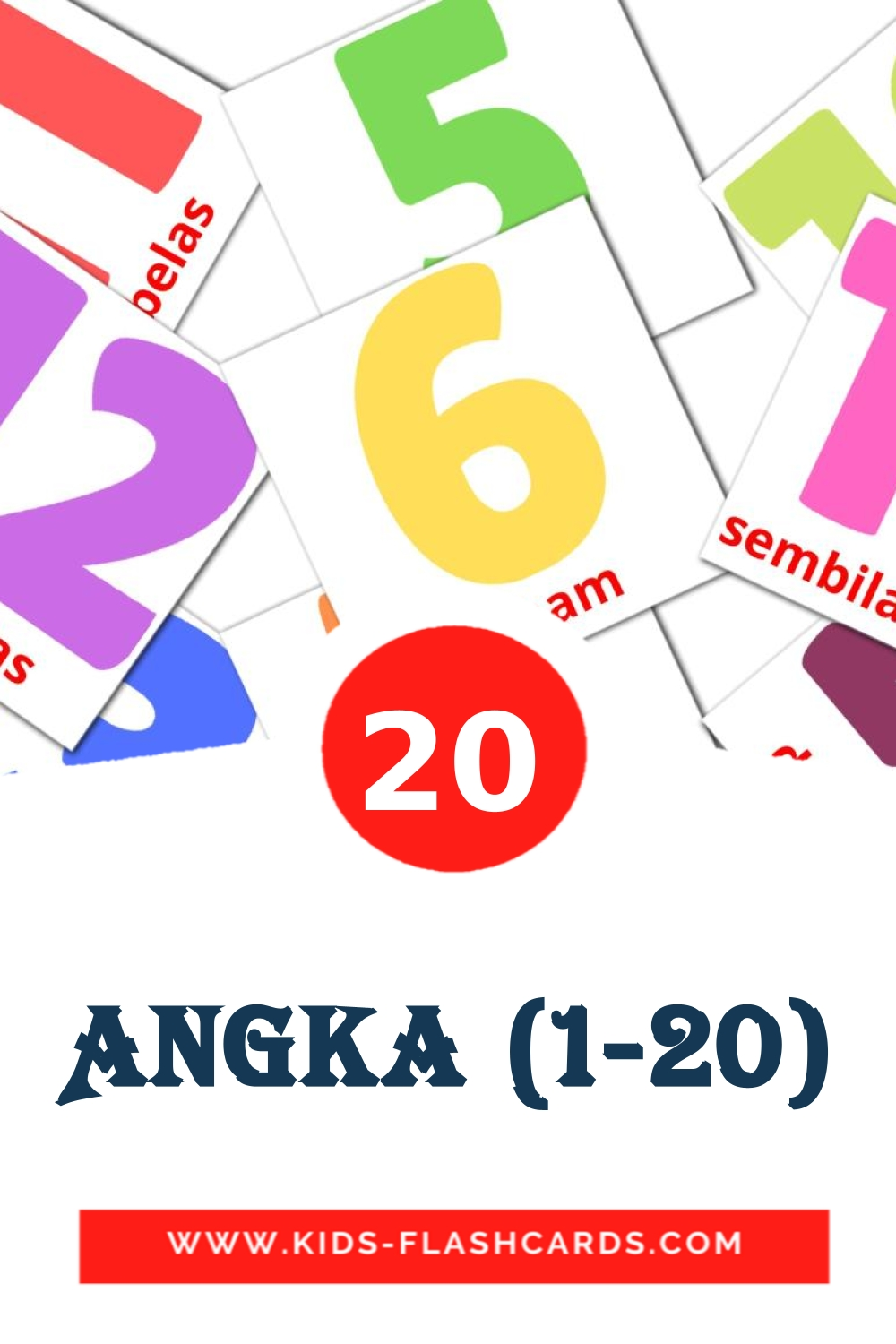 20 Angka (1-20) Picture Cards for Kindergarden in indonesian