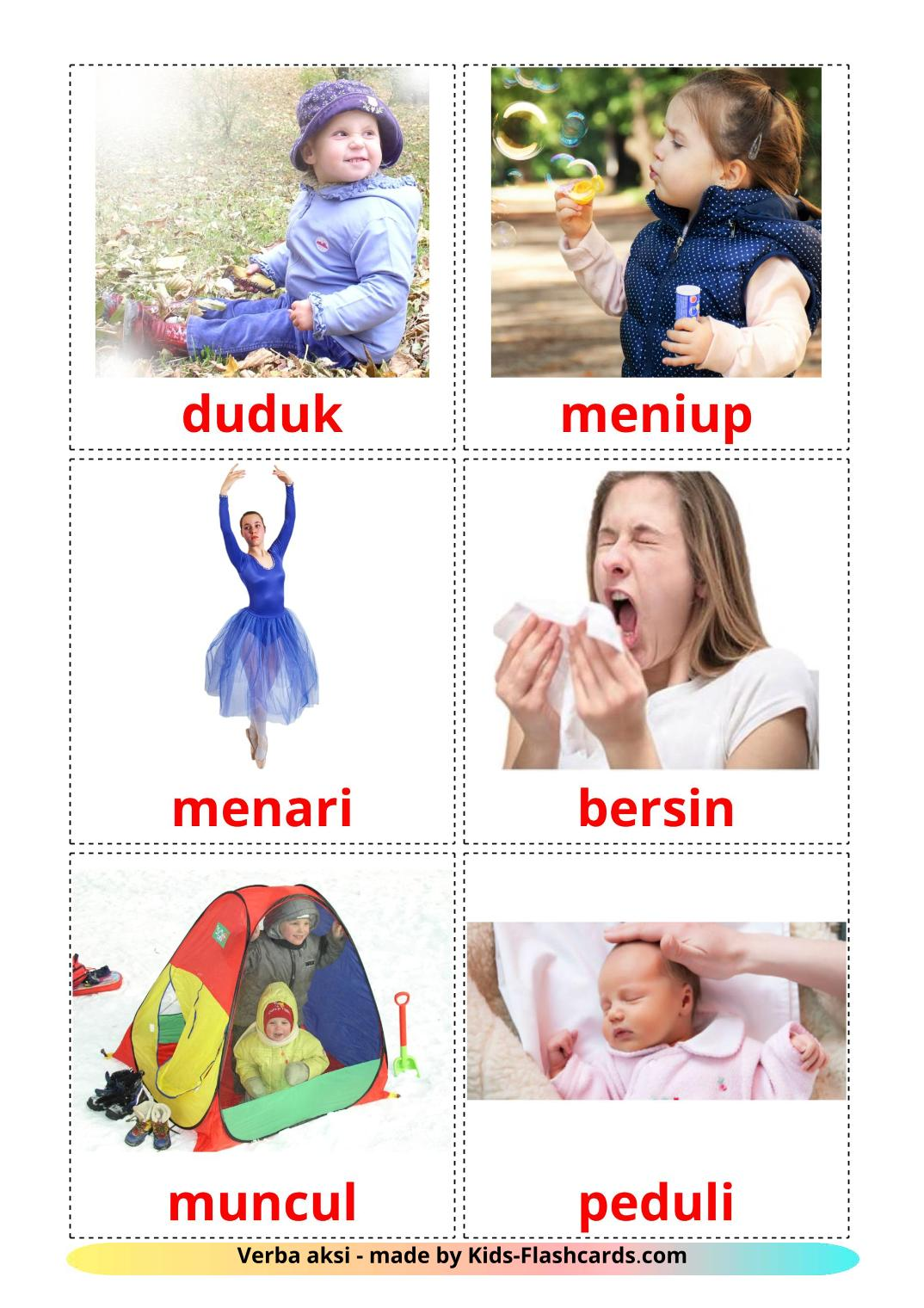Action verbs - 55 Free Printable indonesian Flashcards