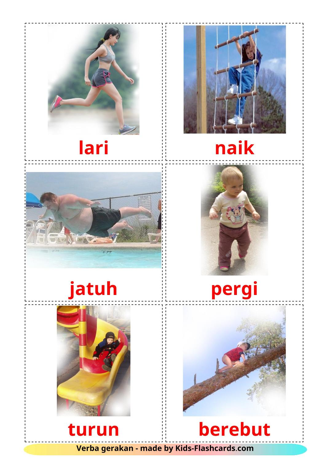 Movement verbs - 22 Free Printable indonesian Flashcards