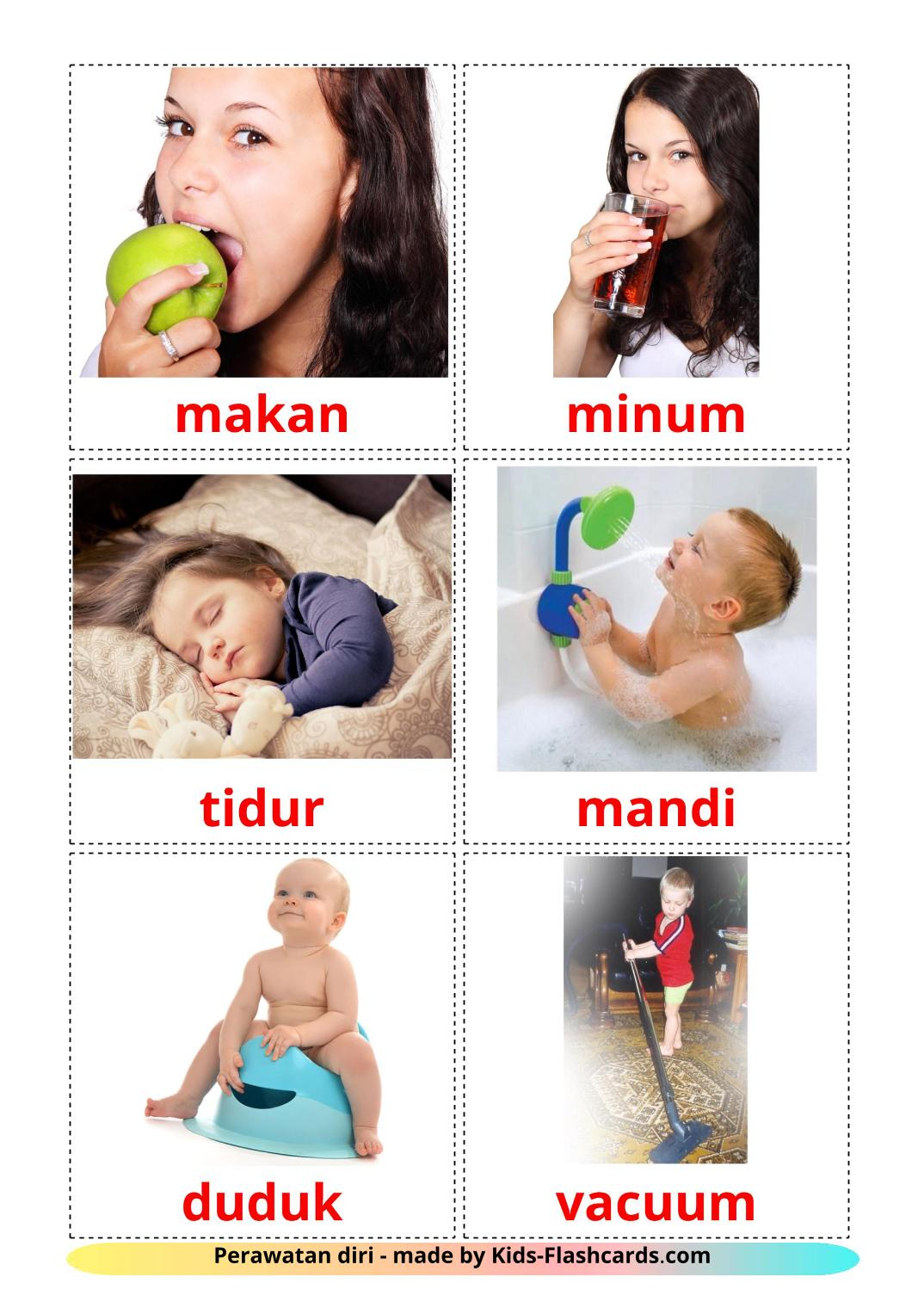 Routine verbs - 33 Free Printable indonesian Flashcards