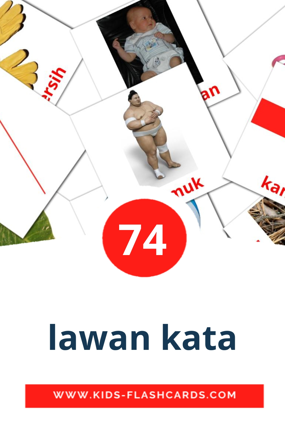 74 lawan kata Picture Cards for Kindergarden in indonesian