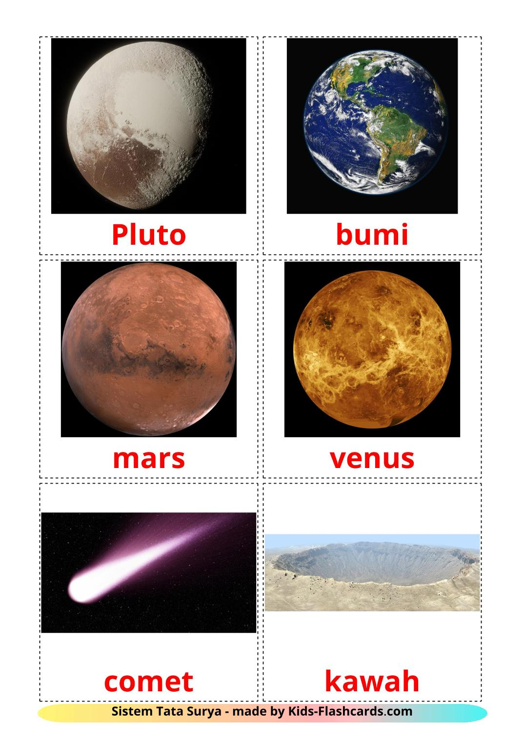 Solar System - 20 Free Printable indonesian Flashcards