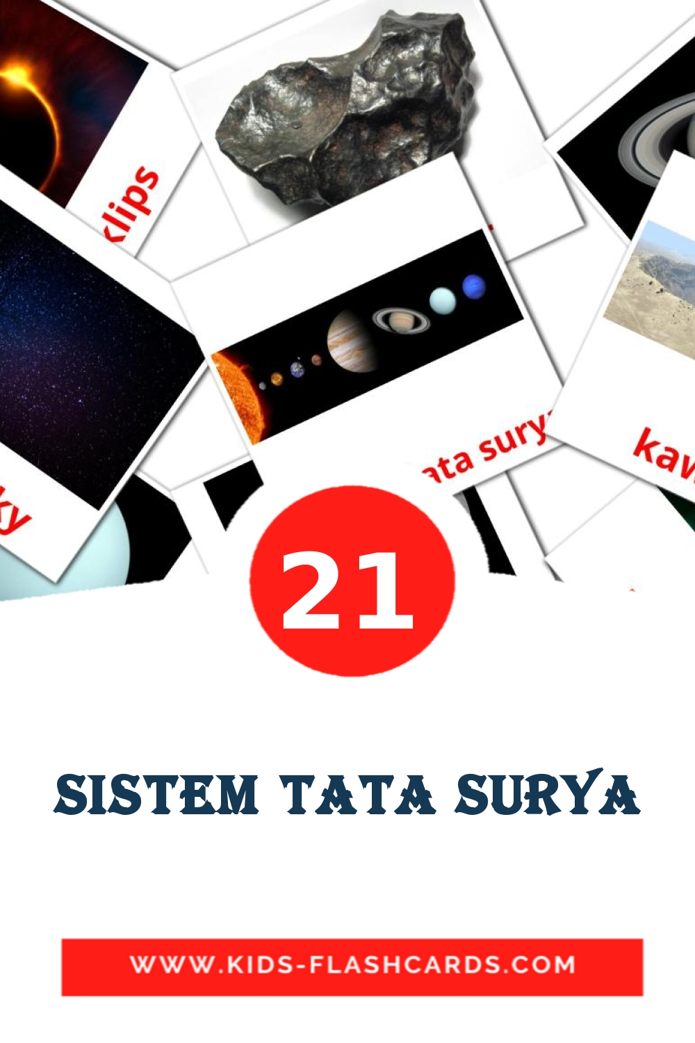 20 Sistem Tata Surya Picture Cards for Kindergarden in indonesian
