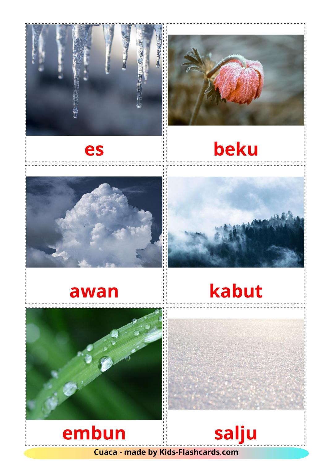 Weather - 31 Free Printable indonesian Flashcards