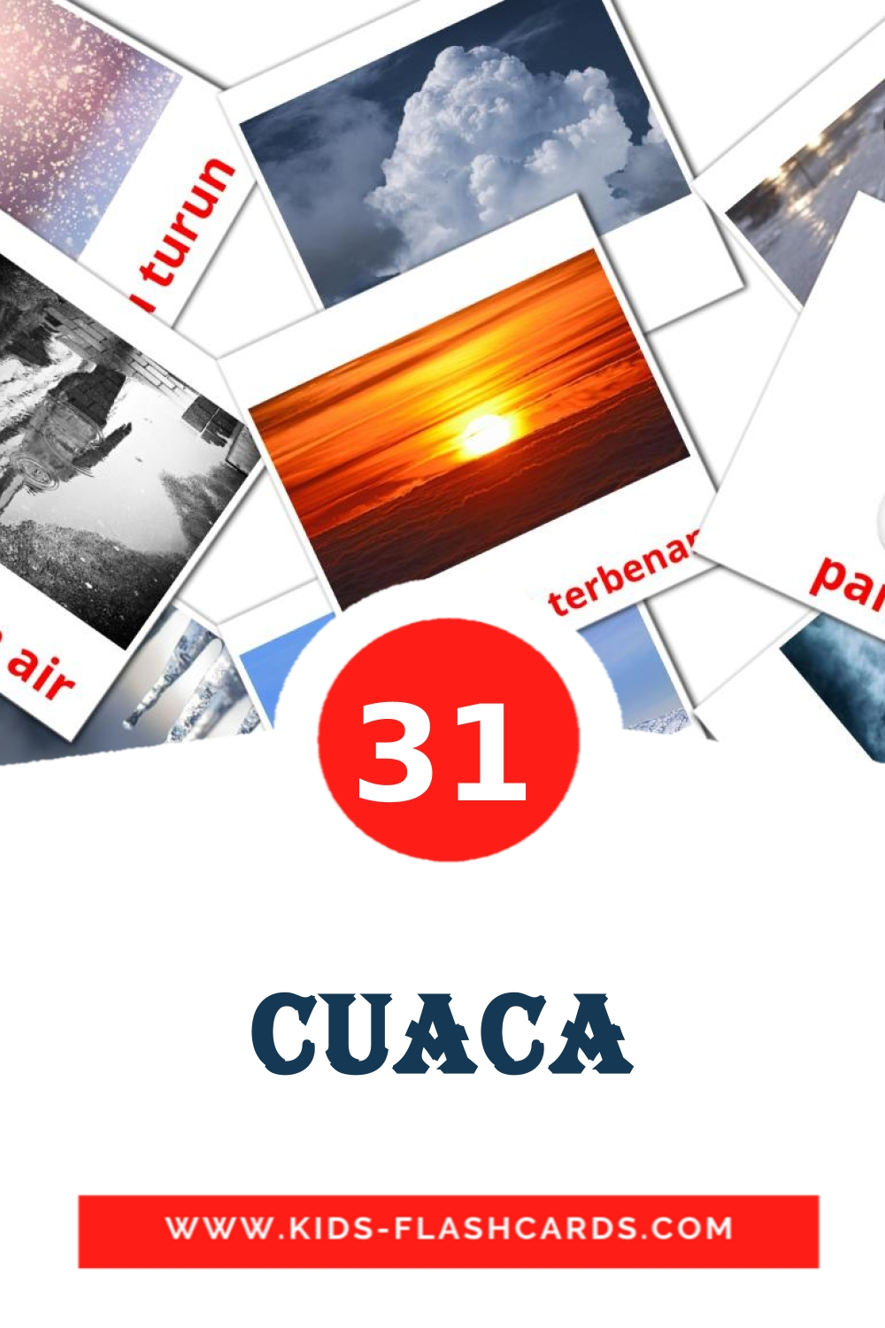 31 Cuaca Picture Cards for Kindergarden in indonesian