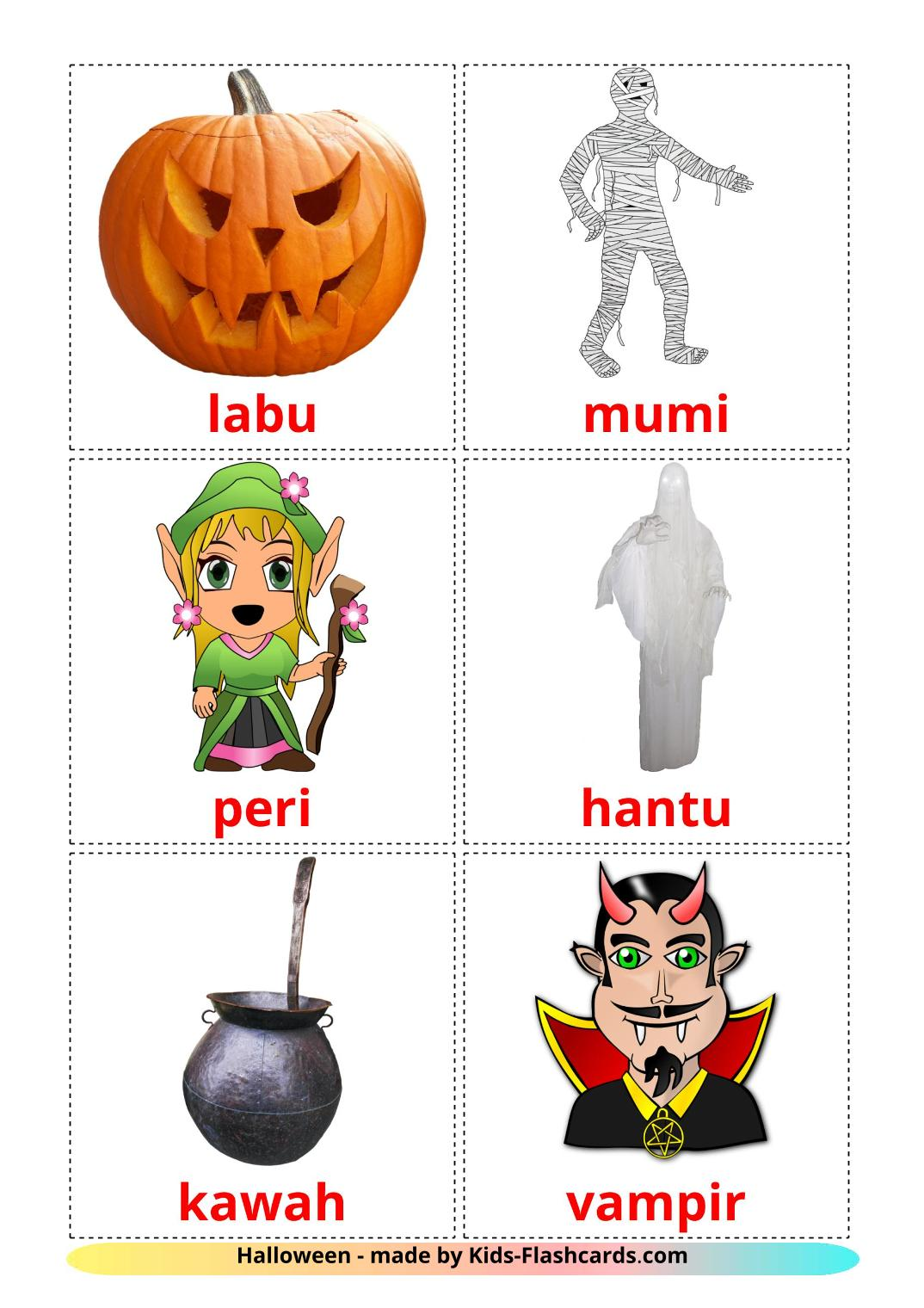 Halloween - 16 Free Printable indonesian Flashcards
