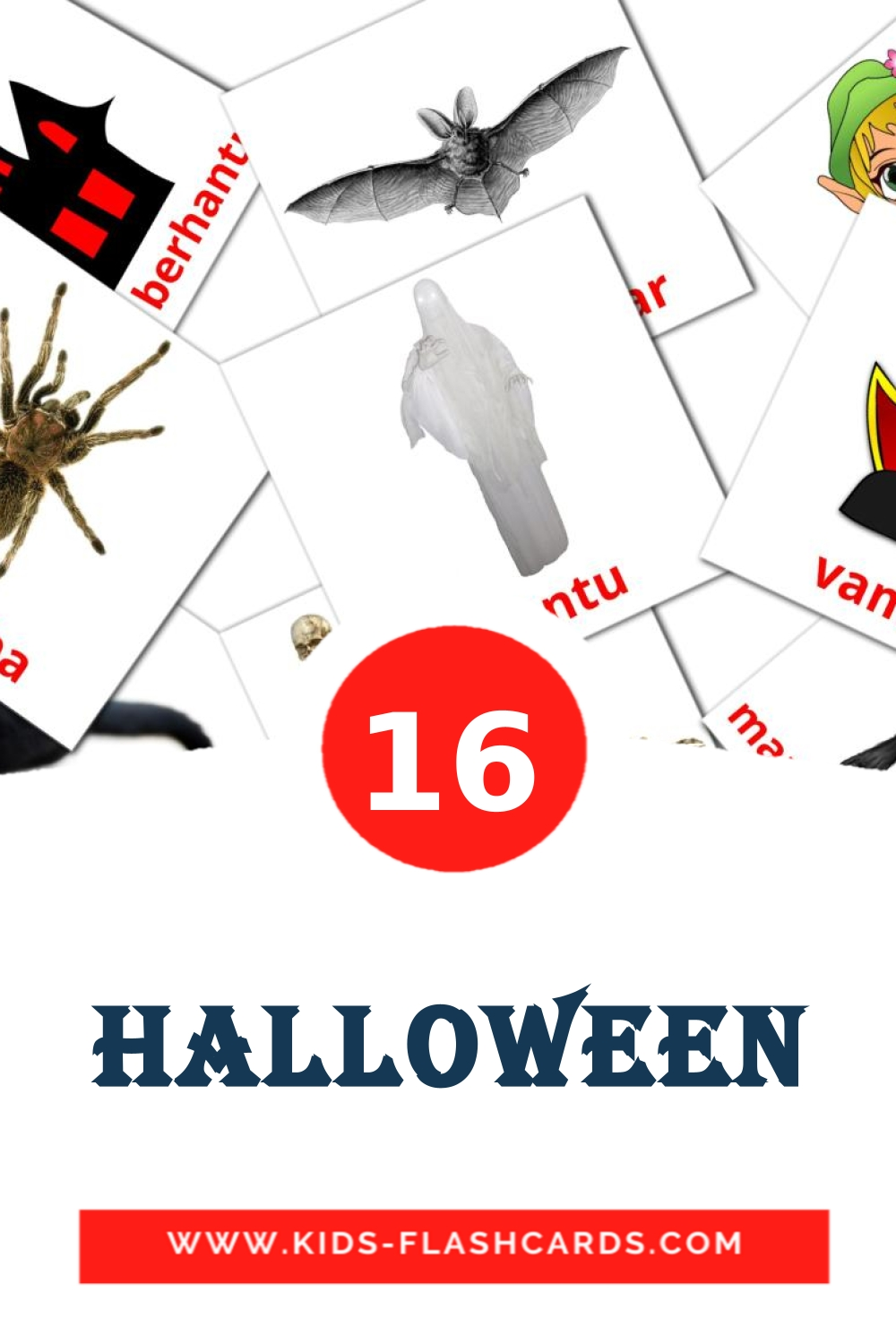16 Halloween Picture Cards for Kindergarden in indonesian