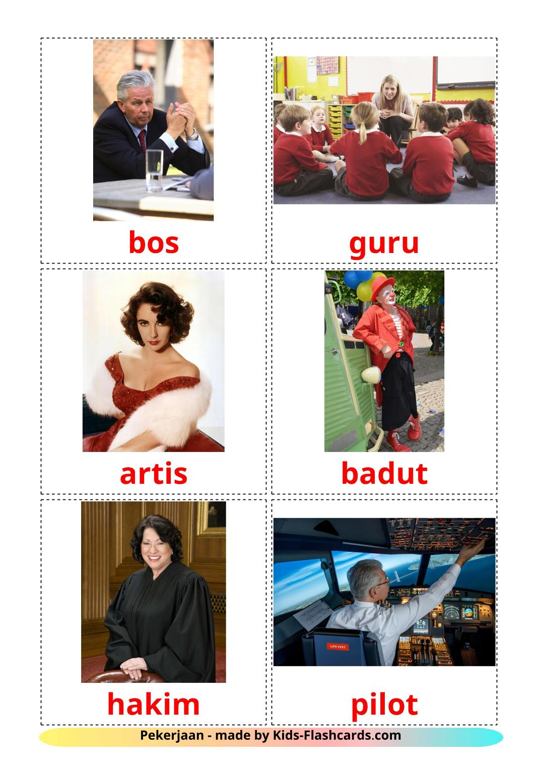Professions - 36 Free Printable indonesian Flashcards