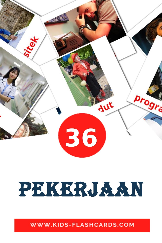 36 Pekerjaan Picture Cards for Kindergarden in indonesian