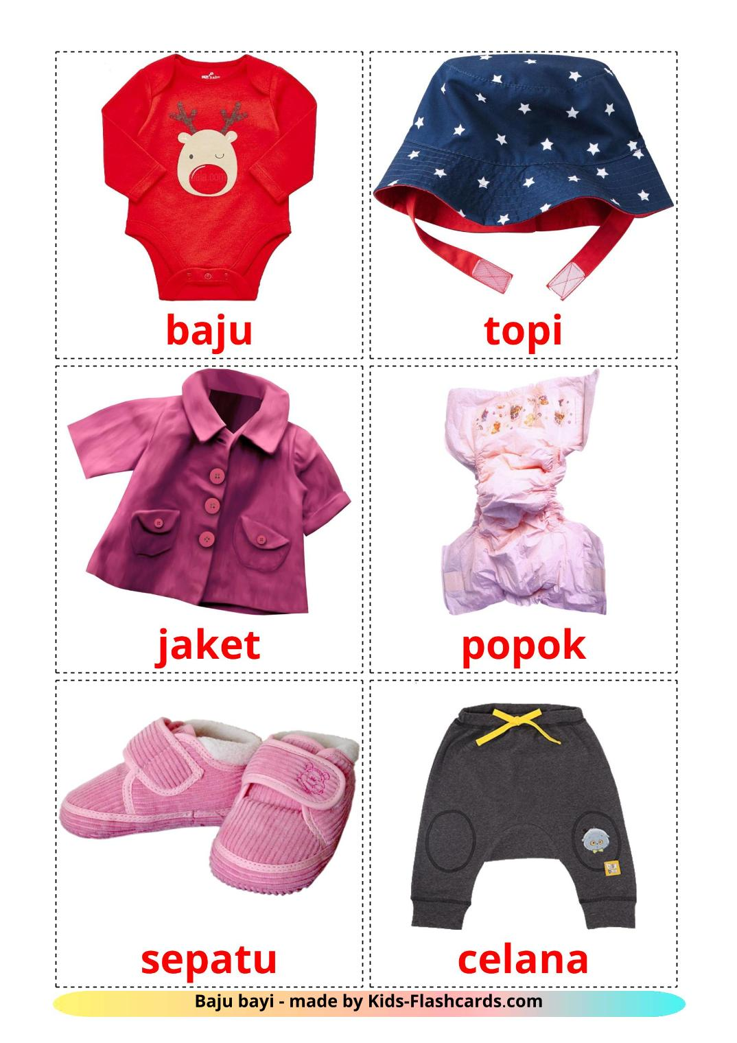 Baby clothes - 12 Free Printable indonesian Flashcards