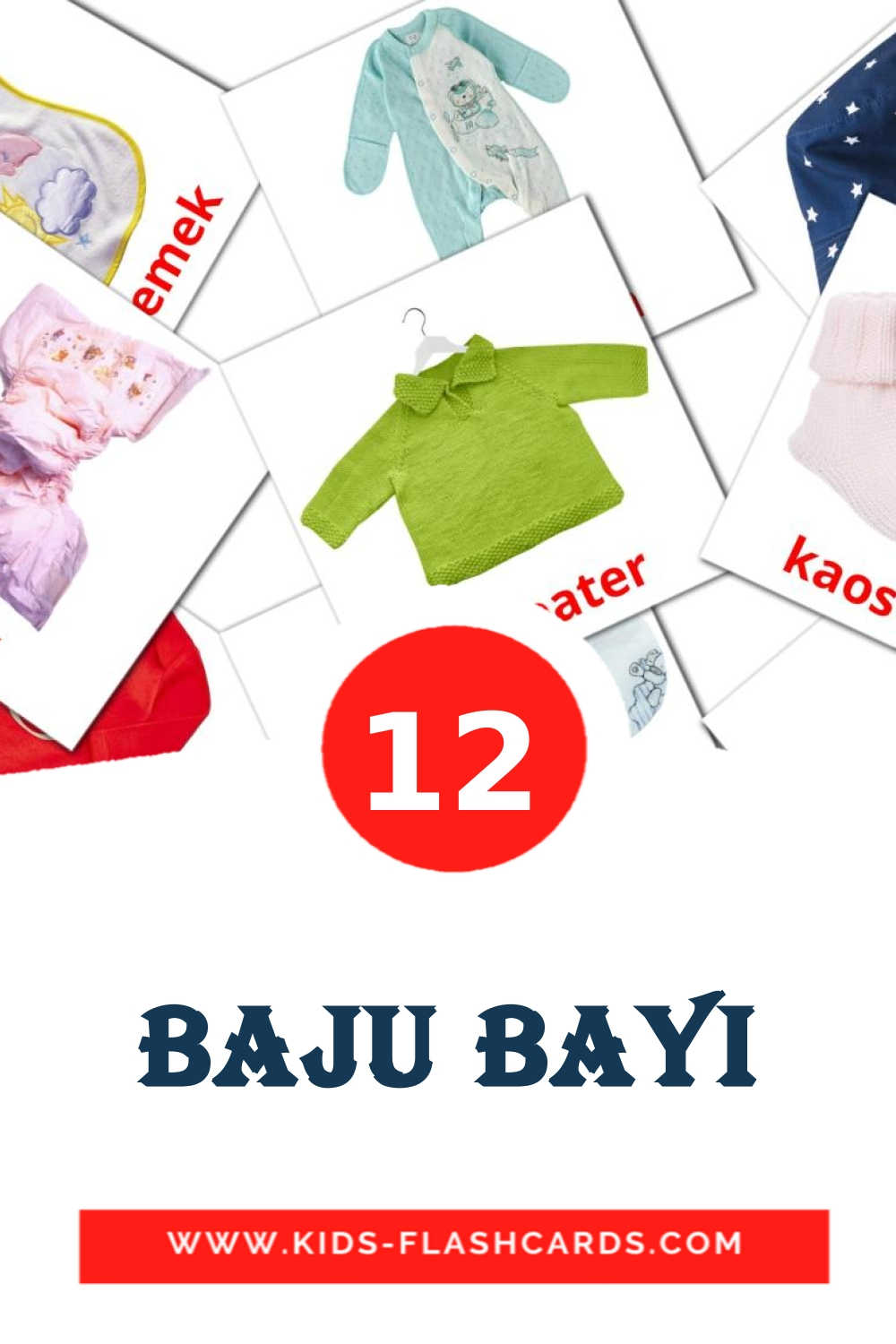 12 Baju bayi Picture Cards for Kindergarden in indonesian