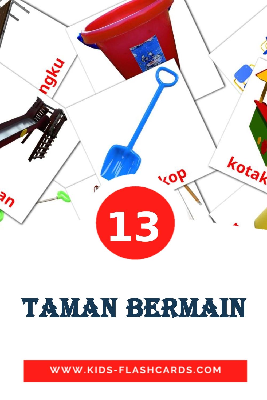 13 Taman Bermain Picture Cards for Kindergarden in indonesian