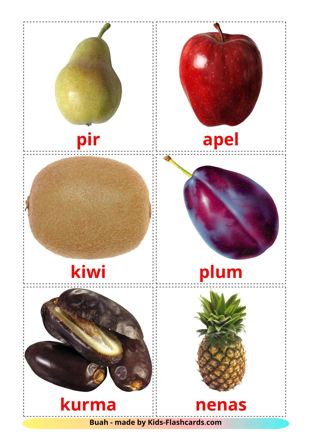 Fruits - 20 Free Printable indonesian Flashcards