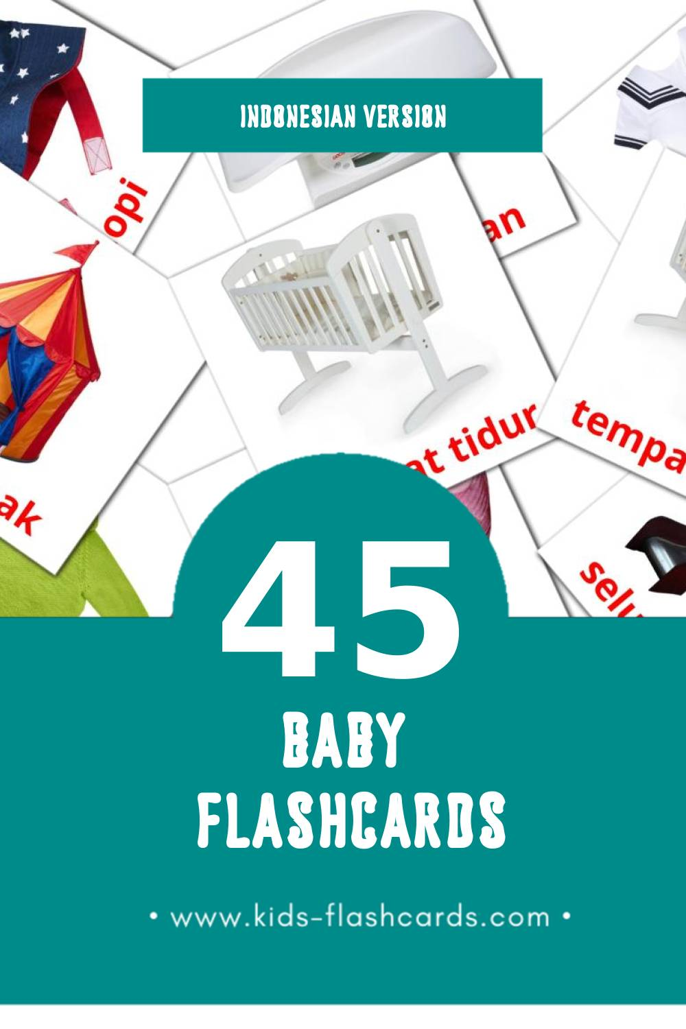 Visual Anak anak Flashcards for Toddlers (45 cards in Indonesian)