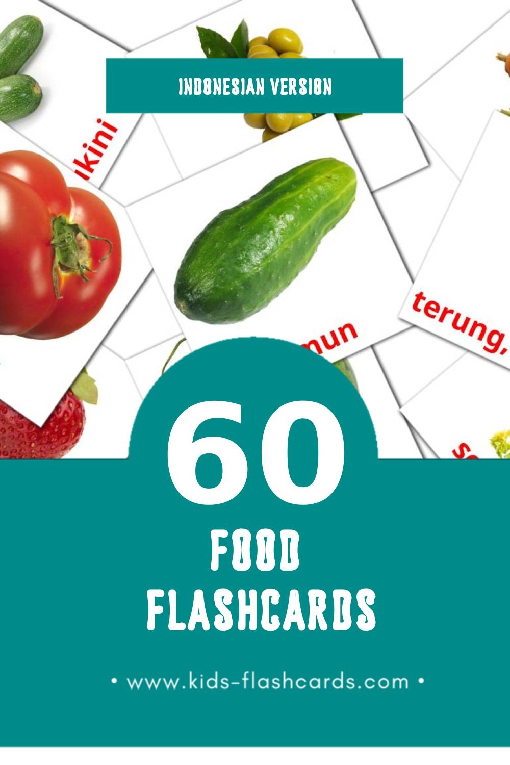 Visual Buah - buahan Flashcards for Toddlers (60 cards in Indonesian)