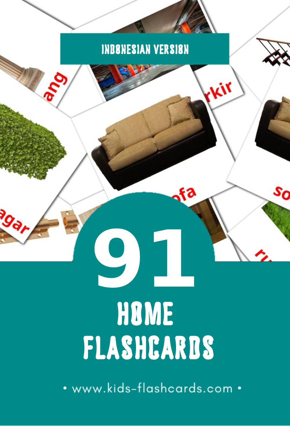 Visual Rumah Flashcards for Toddlers (74 cards in Indonesian)